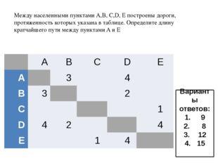 Между населенными пунктами A,B, C,D, Е построены дороги, протяженность котор