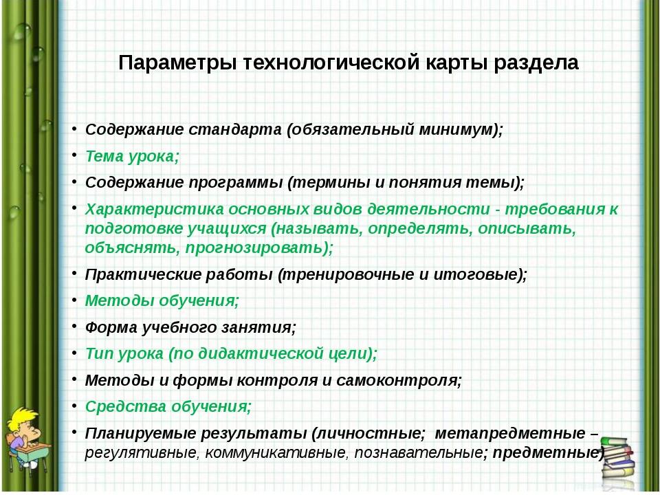 Параметры технологической карты раздела Содержание стандарта (обязательный ми...