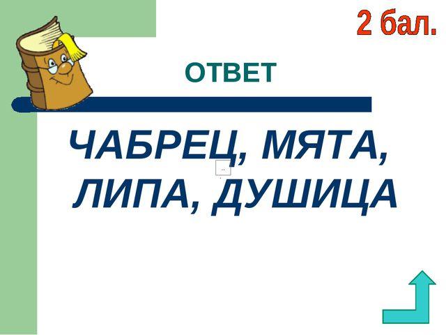 ОТВЕТ ЧАБРЕЦ, МЯТА, ЛИПА, ДУШИЦА