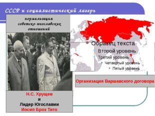 СССР и социалистический лагерь нормализация советско-югославских отношений Н.
