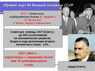 «Третий мир» во внешней политике СССР 1955 г. длительные государственные визи