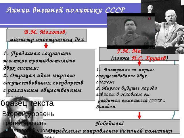 Линии внешней политики СССР В.М. Молотов, министр иностранных дел Г.М. Маленк...