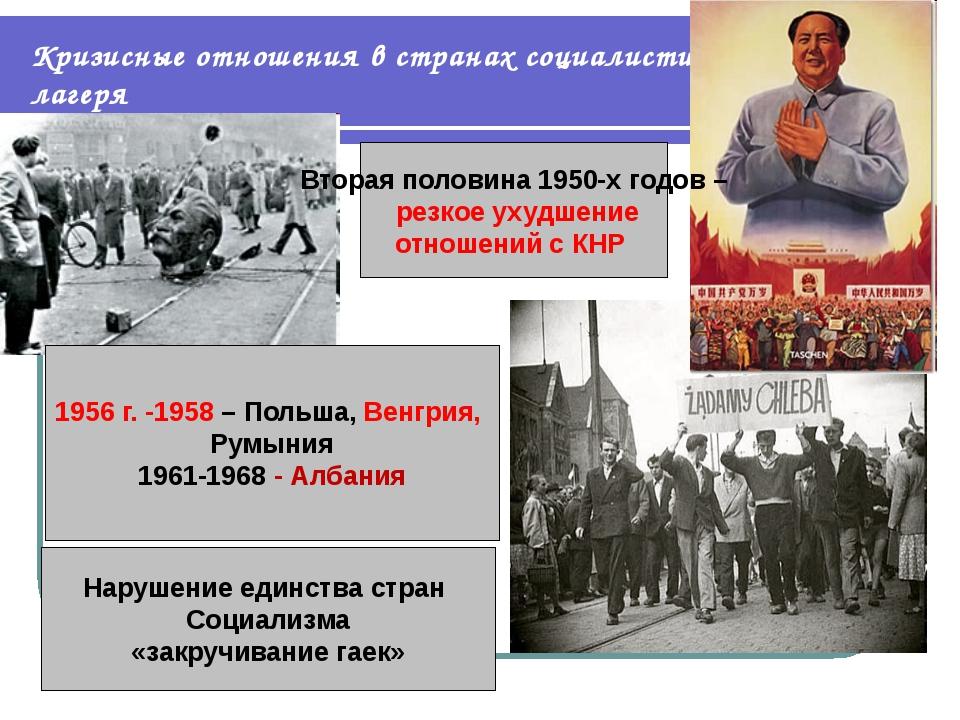 Кризисные отношения в странах социалистического лагеря 1956 г. -1958 – Польша...