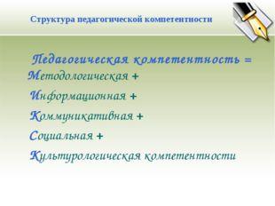 Педагогическая компетентность = Методологическая + Информационная + Коммуник