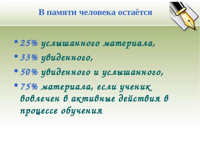 25% услышанного материала, 33% увиденного, 50% увиденного и услышанного, 75%...