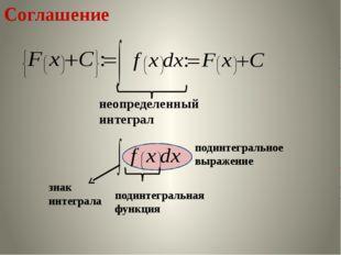 Соглашение неопределенный интеграл знак интеграла подинтегральная функция по