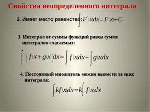 Свойства неопределенного интеграла 3. Интеграл от суммы функций равен сумме и
