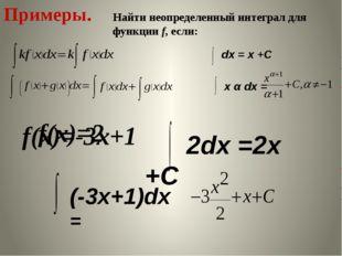 Примеры. Найти неопределенный интеграл для функции f, если: f(x)=2 f(x)=-3x+1