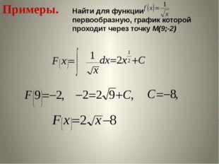Примеры. Найти для функции первообразную, график которой проходит через точку