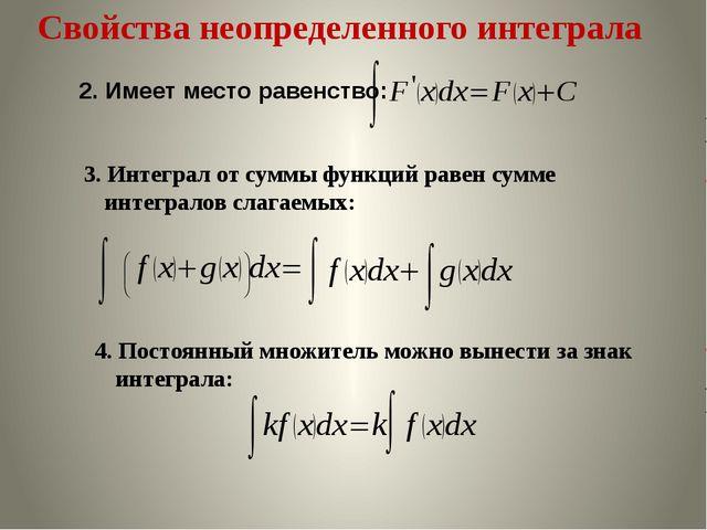 Свойства неопределенного интеграла 3. Интеграл от суммы функций равен сумме и...