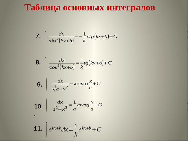 Таблица основных интегралов 7. 8. 9. 10. 11.