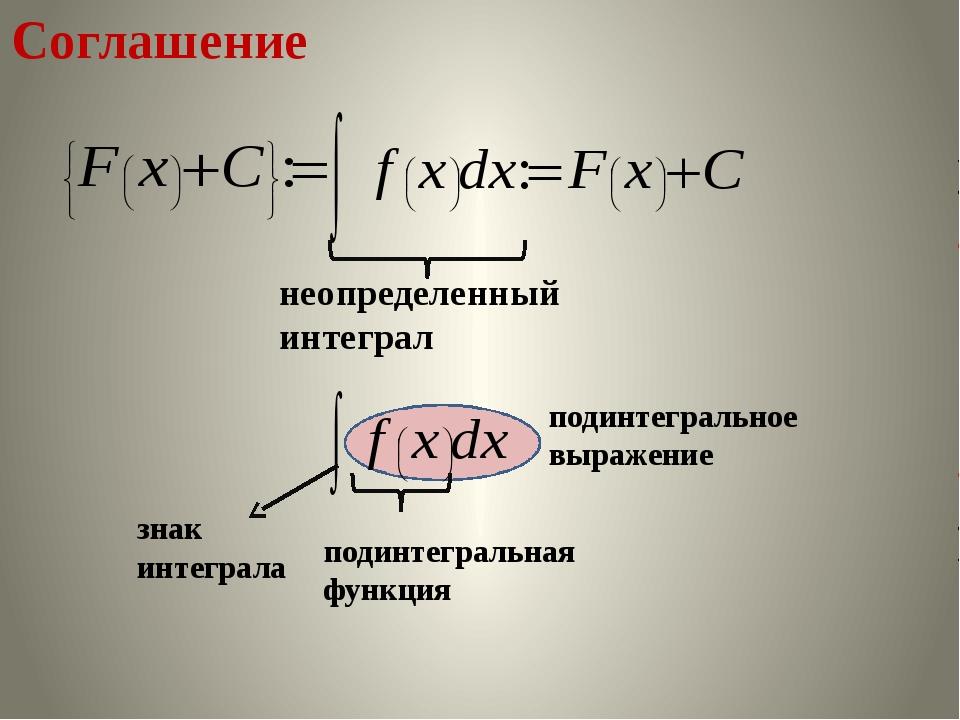Соглашение неопределенный интеграл знак интеграла подинтегральная функция по...