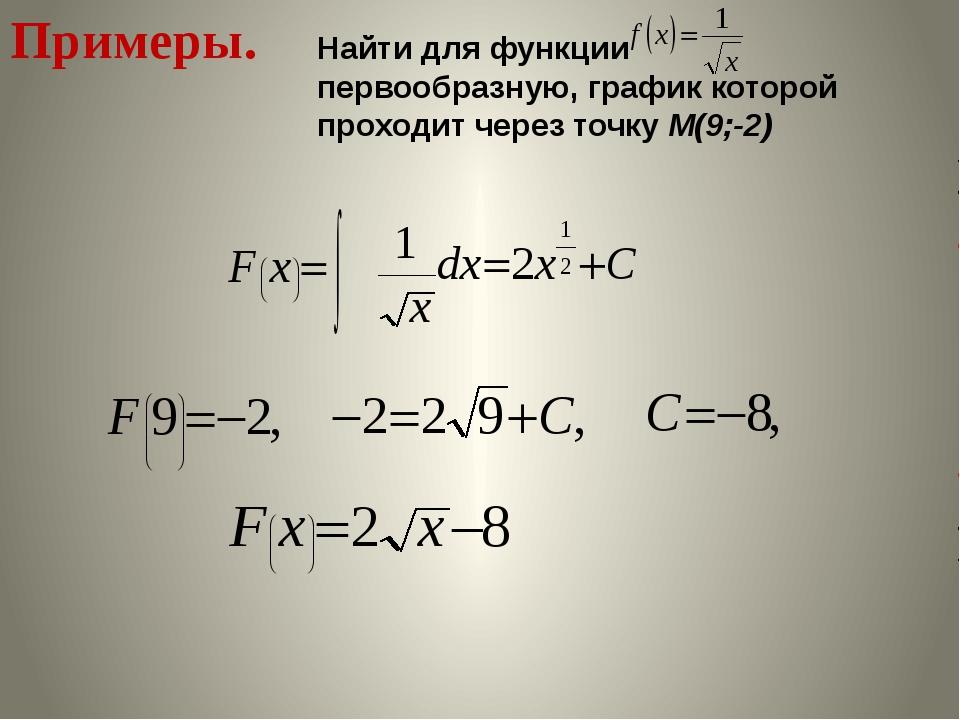Примеры. Найти для функции первообразную, график которой проходит через точку...