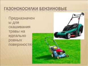 Предназначены для скашивания травы на идеально ровных поверхностях.