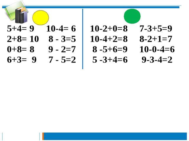 5+4= 9 10-4= 6 10-2+0=8 7-3+5=9 2+8= 10 8 - 3=5 10-4+2=8 8-2+1=7 0+8= 8 9 - 2...