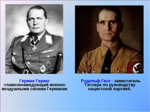 Герман Геринг -главнокомандующий военно-воздушными силами Германии Рудольф Ге