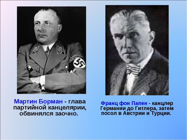 Мартин Борман - глава партийной канцелярии, обвинялся заочно. Франц фон Папен...