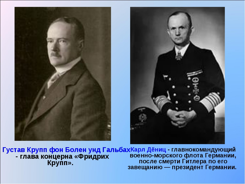 Густав Крупп фон Болен унд Гальбах - глава концерна «Фридрих Крупп». Карл Дён...