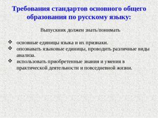 Требования стандартов основного общего образования по русскому языку: Выпуск