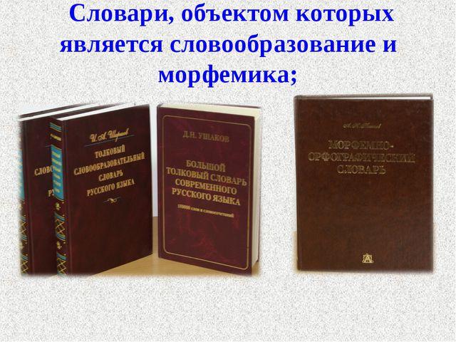 Cловари, объектом которых является словообразование и морфемика;
