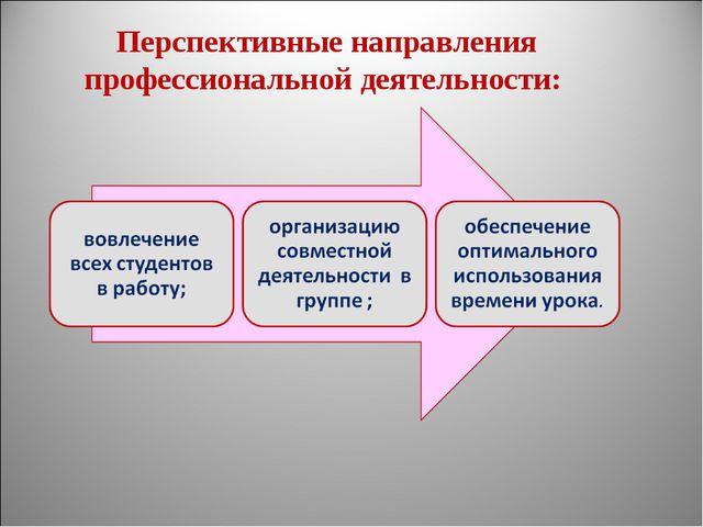 Перспективные направления профессиональной деятельности: