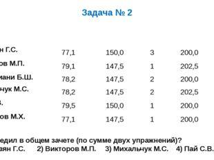 Задача № 2 Кто победил в общем зачете (по сумме двух упражнений)? 1) Айвазян