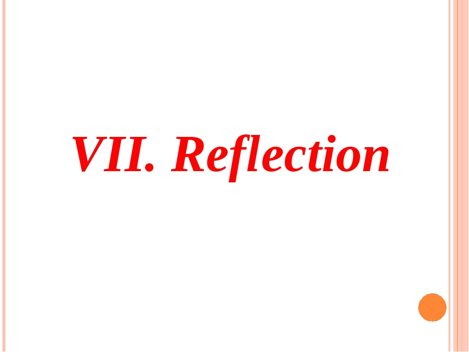 VII. Reflection