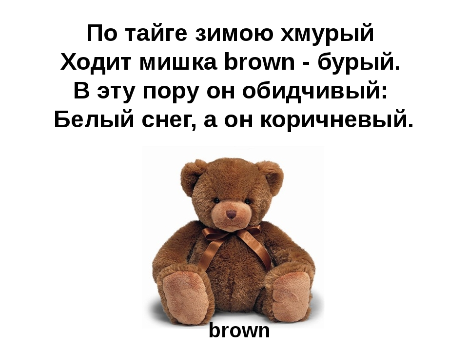 По тайге зимою хмурый Ходит мишка brown - бурый. В эту пору он обидчивый: Бел...