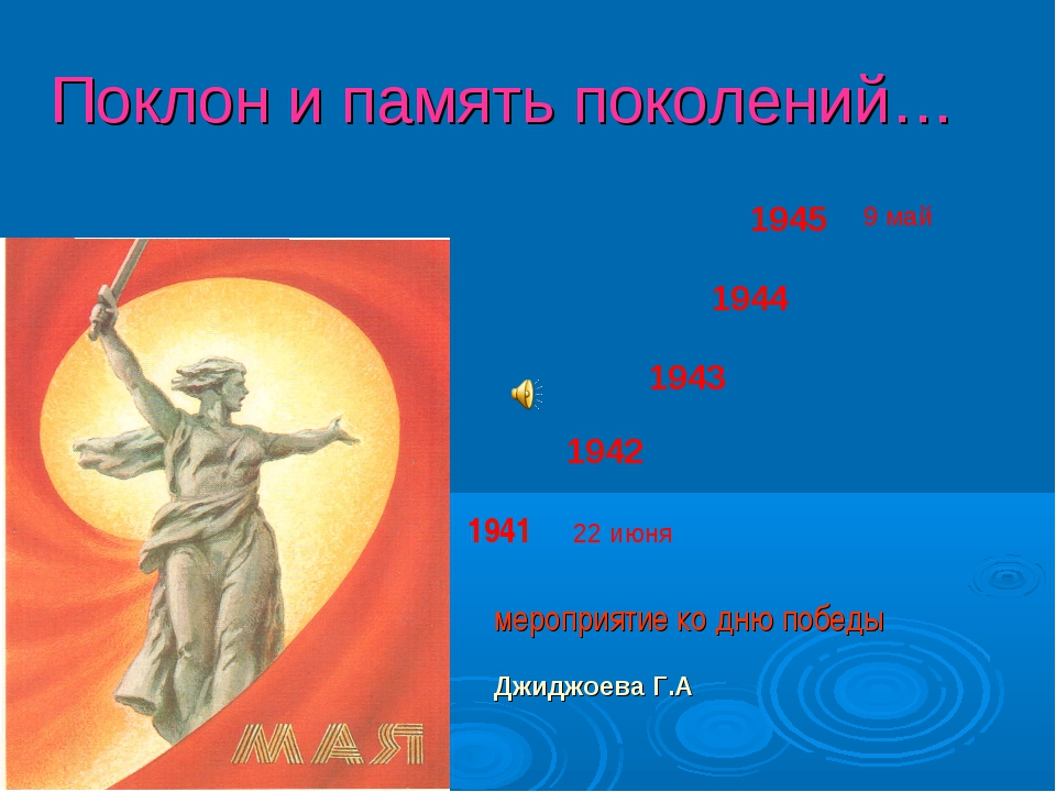 1941 1943 1944 1945 9 май 22 июня мероприятие ко дню победы Джиджоева Г.А Пок...