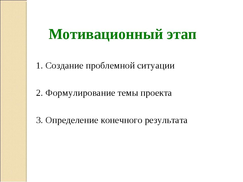 Мотивационный этап 1. Создание проблемной ситуации 2. Формулирование темы пр...