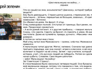 Андрей зеленин «Шел мальчишка на войну…» отрывок Что он нашёл во мне, восьмил