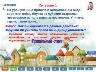 Станция 1. Старт 1 2 3 4 5 6 7 8 Финиш 9 На урок ученица пришла в неприличном