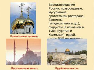 Вероисповедание России: православные, мусульмане, протестанты (лютеране, бапт
