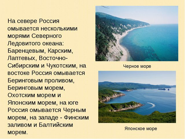 На севере Россия омывается несколькими морями Северного Ледовитого океана: Ба...