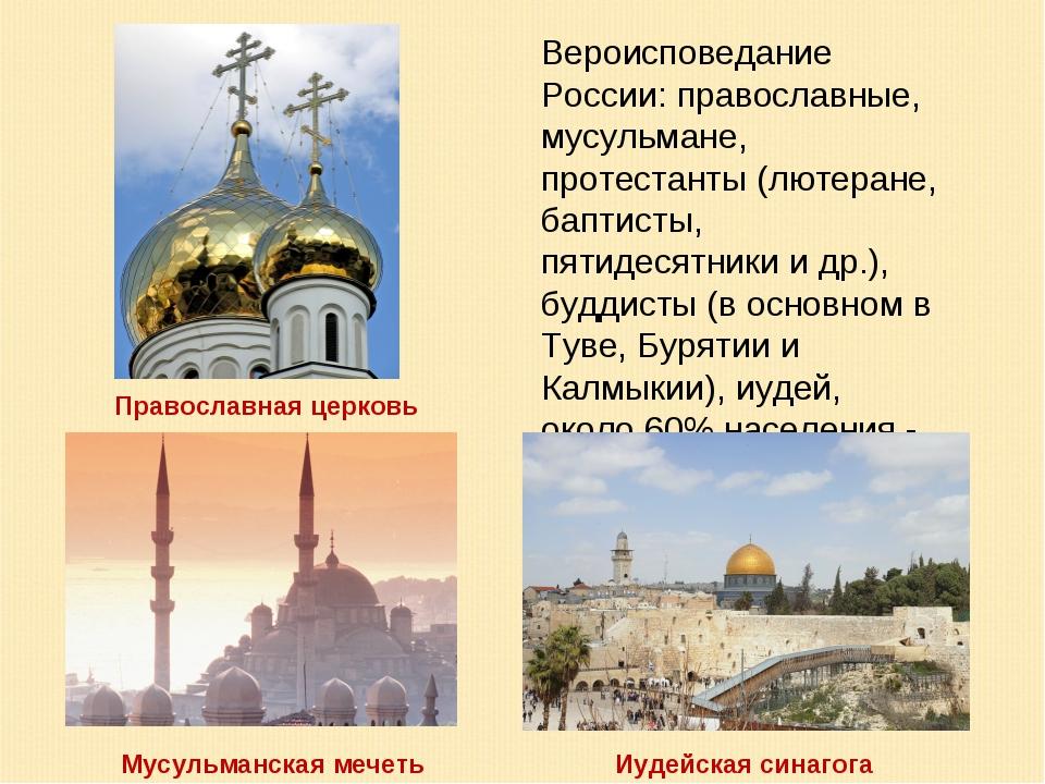 Вероисповедание России: православные, мусульмане, протестанты (лютеране, бапт...