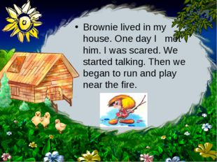 Brownie lived in my house. One day I met him. I was scared. We started talkin