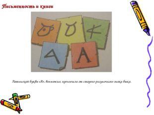 Письменность и книги Латинская буква «А», возможно, произошла от старого рису