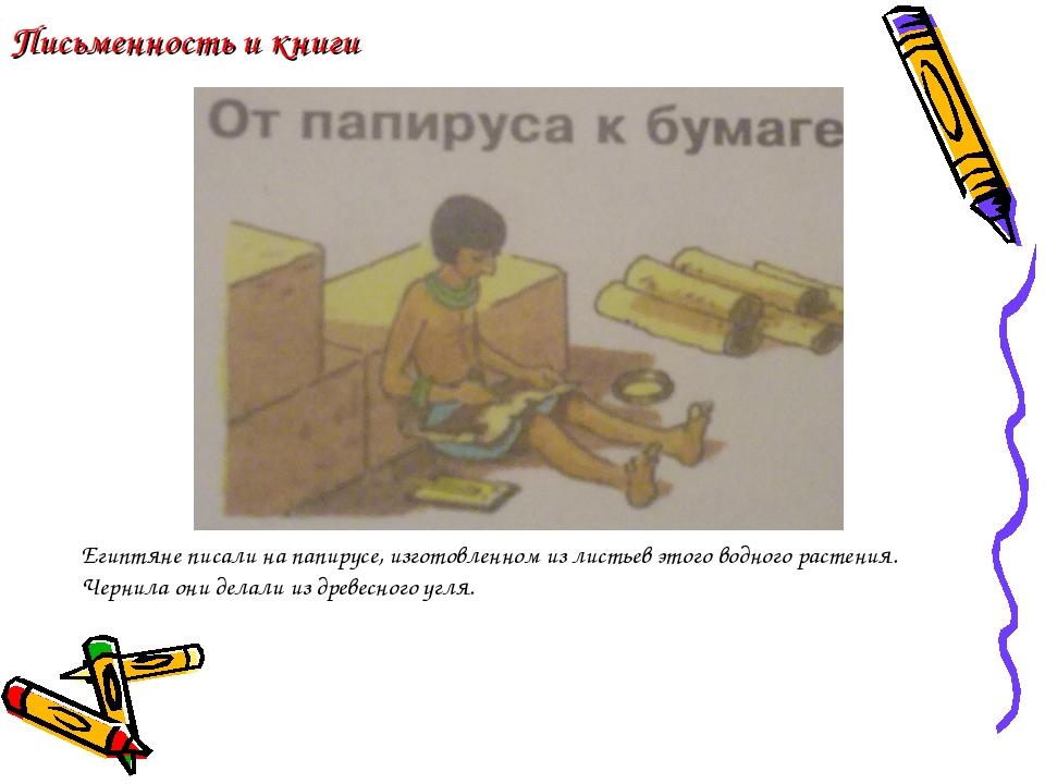 Письменность и книги Египтяне писали на папирусе, изготовленном из листьев эт...