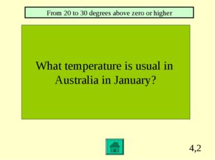 4,2 What temperature is usual in Australia in January? From 20 to 30 degrees