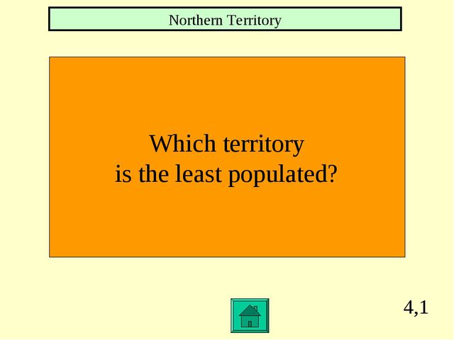 4,1 Which territory is the least populated? Northern Territory