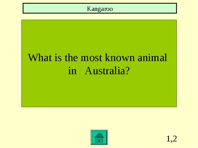 1,2 What is the most known animal in Australia? Kangaroo