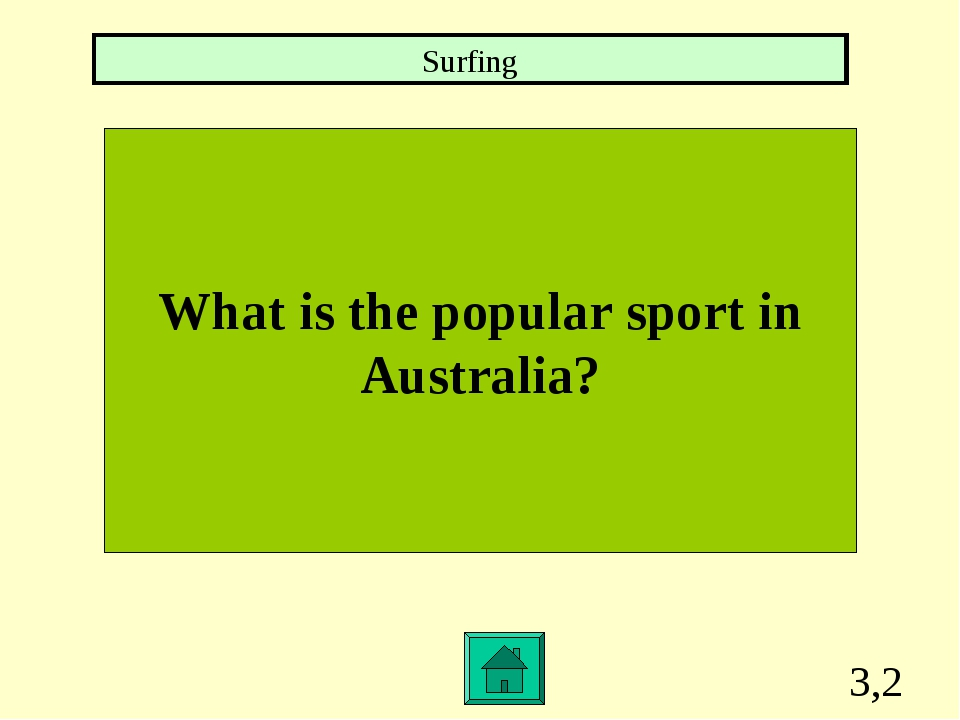 3,2 What is the popular sport in Australia? Surfing