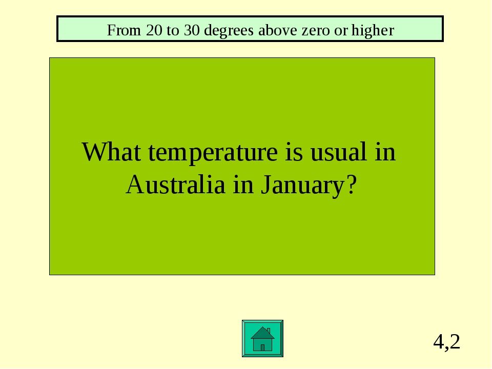 4,2 What temperature is usual in Australia in January? From 20 to 30 degrees...