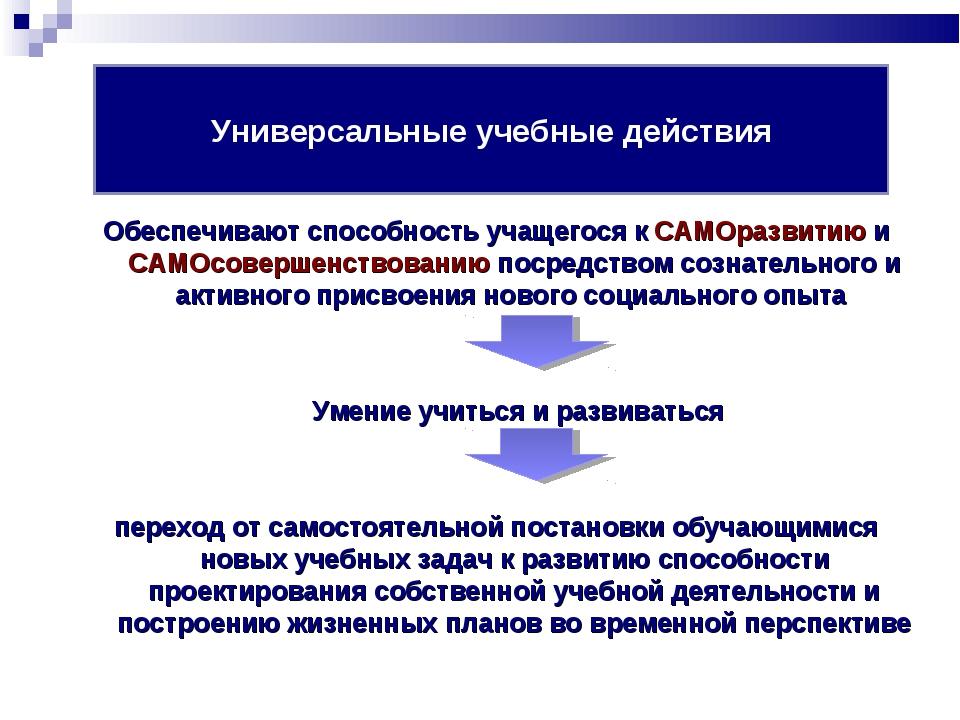 Обеспечивают способность учащегося к САМОразвитию и САМОсовершенствованию пос...
