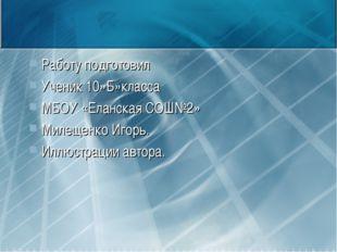 Работу подготовил Ученик 10»Б»класса МБОУ «Еланская СОШ№2» Милещенко Игорь. И