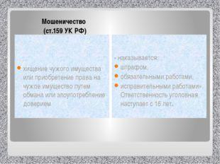 Мошеничество  (ст.159 УК РФ) хищение чужого имущества или приобретение