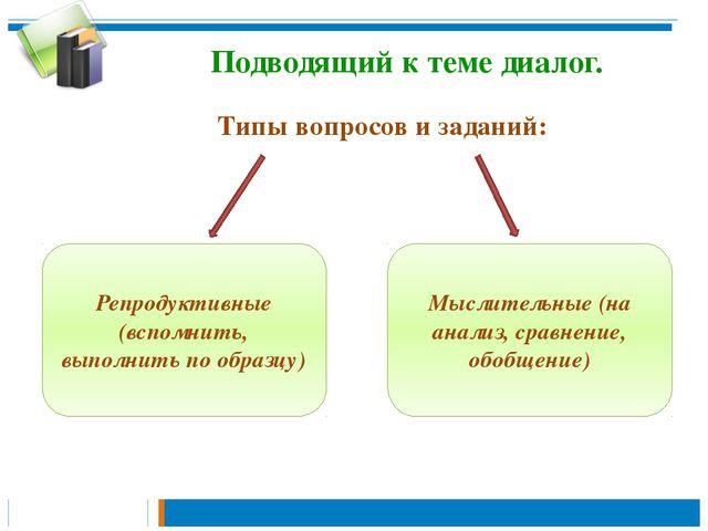 Подводящий к теме диалог. Типы вопросов и заданий: Репродуктивные (вспомнить,...