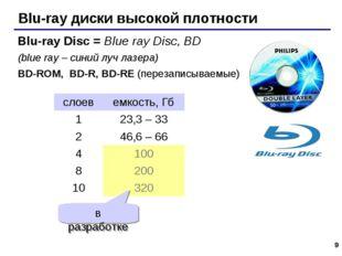 * Blu-ray диски высокой плотности Blu-ray Disc = Blue ray Disc, BD (blue ray