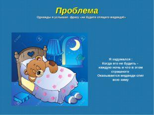 Проблема Однажды я услышал фразу «не будите спящего медведя!» Я задумался : К