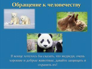 Обращение к человечеству В конце хотелось бы сказать, что медведи, очень хоро